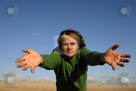 Open stock photo, Man with open arms with the sky as background by Rui Vale de Sousa