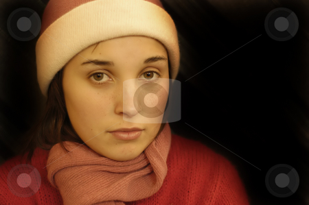 Teen stock photo, Young beautiful girl portrait in a black background by Rui Vale de Sousa