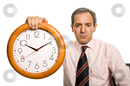 Clock stock photo, Mature handsome business man holding a clock by Rui Vale de Sousa