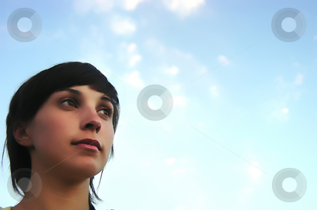 Face stock photo, Young teen woman with the blue sky as background by Rui Vale de Sousa