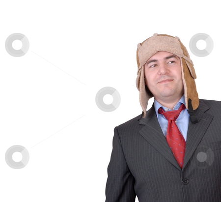 Hat stock photo, Young man portrait with a strange hat isolated on white by Rui Vale de Sousa