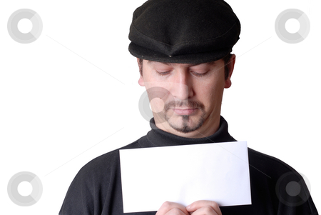 Add stock photo, Young man with an empty card isolated on white by Rui Vale de Sousa