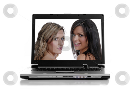 Laptop stock photo, Laptop isolated on white with two beautiful women by Rui Vale de Sousa