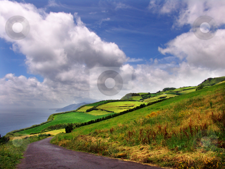 Azores stock photo, Road in the hills by Rui Vale de Sousa
