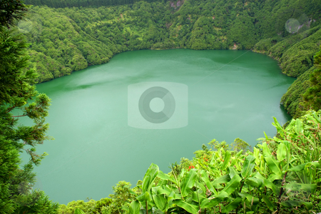 Lake stock photo, Green lake on the mountains of azores by Rui Vale de Sousa