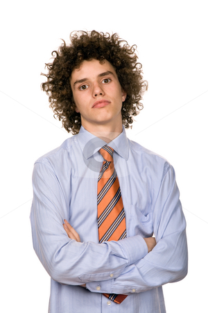 Serious stock photo, Serious young man portrait isolated on white by Rui Vale de Sousa