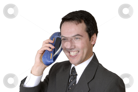 Call stock photo, Young business man calling with a shoe isolated on white by Rui Vale de Sousa