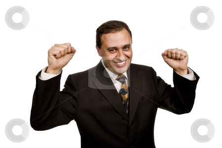 Success stock photo, Successful business man with arms isolated on white by Rui Vale de Sousa