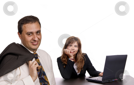 Working stock photo, Young woman working with a laptop, with the boss by Rui Vale de Sousa