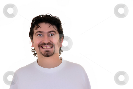 Portrait stock photo, Happy casual young man in white background by Rui Vale de Sousa