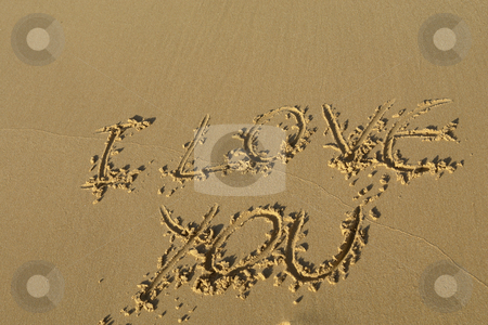Love stock photo, I love you on the sand at the beach by Rui Vale de Sousa