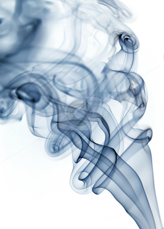 Blue smoke stock photo, Blue rays smoke abstract in white background by Rui Vale de Sousa