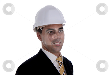 Helmet stock photo, A young architect a over white background by Rui Vale de Sousa