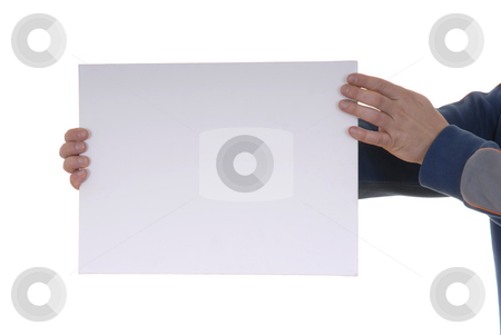 Blank card stock photo, Hand holding blank card in a white background by Rui Vale de Sousa