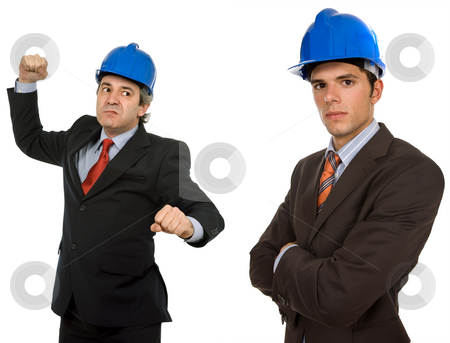 Anger stock photo, Two engineers with blue hat, isolated on white by Rui Vale de Sousa