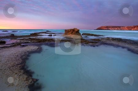 Tidepool Dawn stock photo, Dawn breaks over a tidepool at Pennington Beach, Kangaroo Island, Australia by Mike Dawson