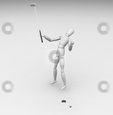 Missing the putt stock photo, 3D render of a golfer missing his putt by Kirsty Pargeter