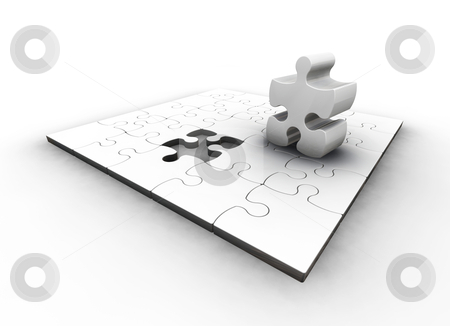 The final piece stock photo, 3D render of a puzzle with one piece missing by Kirsty Pargeter