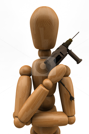 Mannequin Spy stock photo, 3D image of a wooden mannequin in the classic