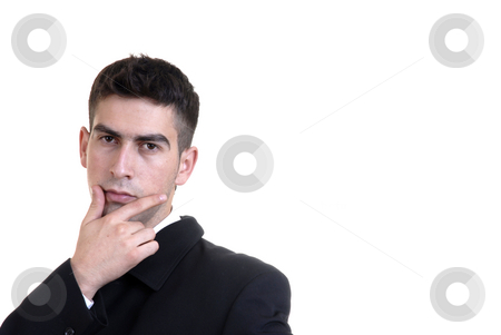 Think stock photo, Young business man thinking in a white background by Rui Vale de Sousa
