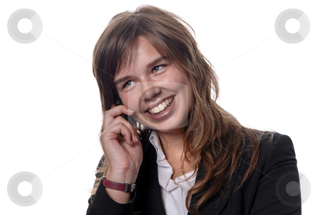 Girl stock photo, Business girl on the phone over a white background by Rui Vale de Sousa