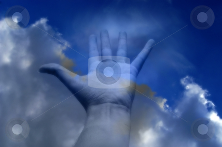 Hand stock photo, Hand and clouds in the sky by Rui Vale de Sousa