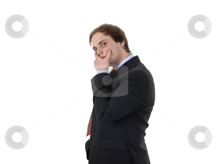 Problem stock photo, Businessman covered face with his hand on white background by Rui Vale de Sousa