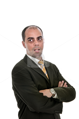 Alone stock photo, Business man isolated over a white background by Rui Vale de Sousa