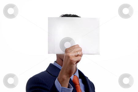 White stock photo, Business man holding a card in his head by Rui Vale de Sousa