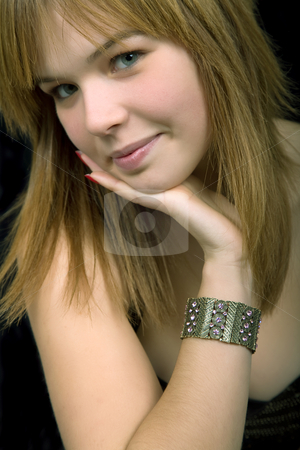 Woman stock photo, Young beautiful blonde portrait against black background by Rui Vale de Sousa