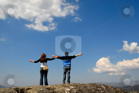 Freedom stock photo, Young couple in the top of the mountain by Rui Vale de Sousa