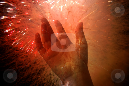 Hand stock photo, Hand in the fireworks by Rui Vale de Sousa