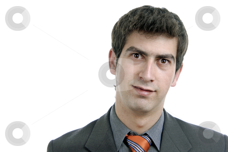 Silly stock photo, Young caucasian man portrait in a white background by Rui Vale de Sousa