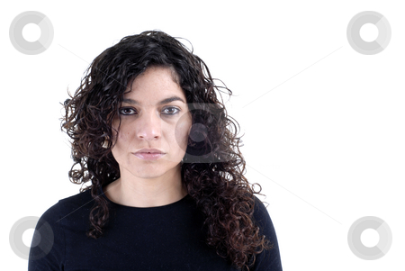 Sad stock photo, Portrait of young brunette woman isolated on white by Rui Vale de Sousa