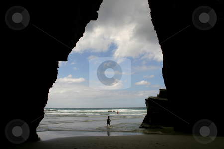 Beach stock photo, Big cave at the beach, north portuguese coast by Rui Vale de Sousa