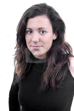 Woman stock photo, Young beautiful woman portrait isolated on white by Rui Vale de Sousa