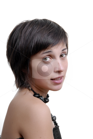 Casual stock photo, Casual woman portrait over a white background by Rui Vale de Sousa