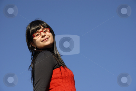 Woman stock photo, Young woman with the sky as background by Rui Vale de Sousa