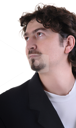 Beard man stock photo, Beard man close up portrait in white background by Rui Vale de Sousa