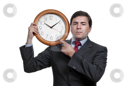Time stock photo, A handsome business man holding a clock by Rui Vale de Sousa