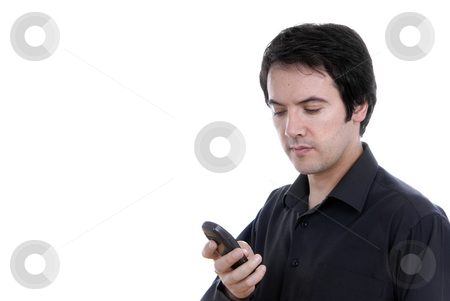 On the phone stock photo, Young casual man on the phone, isolated on white by Rui Vale de Sousa