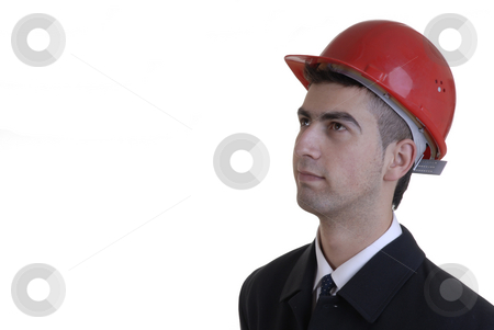 Worker stock photo, Young worker with a helmet in a white background by Rui Vale de Sousa