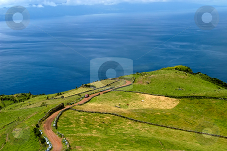 Azores stock photo, Fields on the azores coast, island of S. Miguel by Rui Vale de Sousa