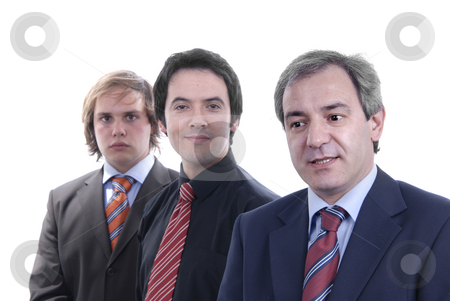 Three stock photo, Three business man isolated on white background, focus on the right man by Rui Vale de Sousa