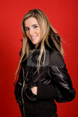 Blonde stock photo, Young woman portrait isolated on red background by Rui Vale de Sousa