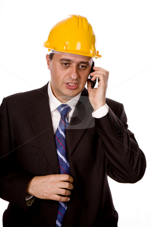 Calling stock photo, An engineer with yellow hat, isolated on white by Rui Vale de Sousa