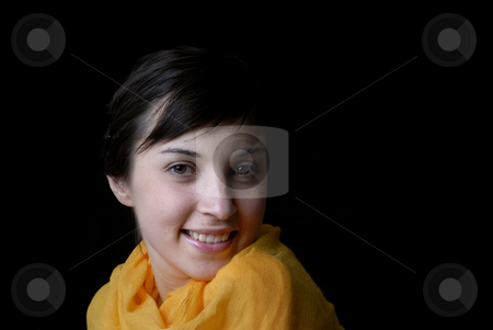 Portrait stock photo, Portrait of a brunette young girl in black background by Rui Vale de Sousa