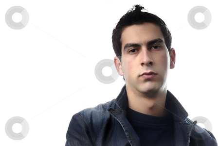 Stand stock photo, Young casual man portrait in a white background by Rui Vale de Sousa