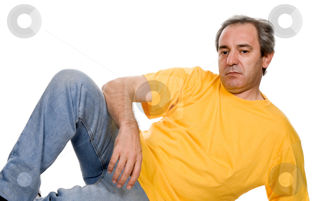 Unhappy stock photo, Mature casual man, isolated on white background by Rui Vale de Sousa