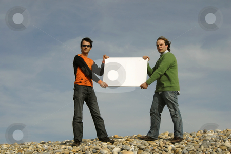 Blank stock photo, Two young men holding a white card by Rui Vale de Sousa